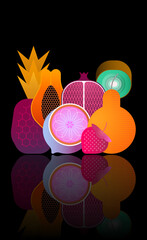 Mix of ripe tropical fruits with reflection on a black background vector illustration. Strawberry, pineapple, pear, kiwi, pomegranate, citrus, papaya.