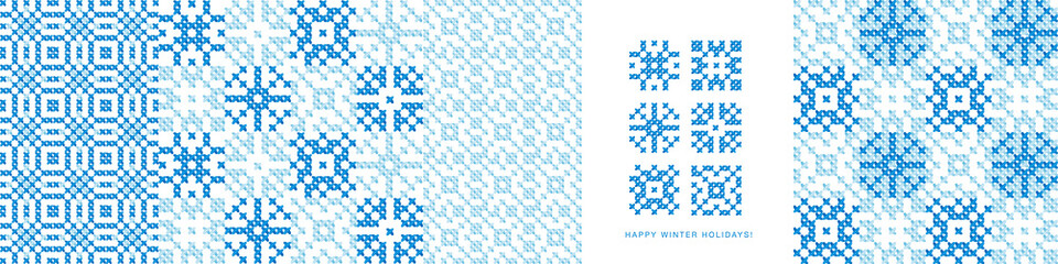 Winter snowflakes cross-stitch seamless patterns