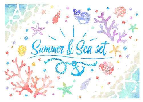 水彩風の夏の海、ベクターイラストセット