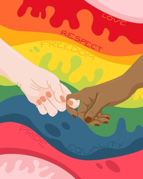 Hands holding on to each other in front of a rainbow background