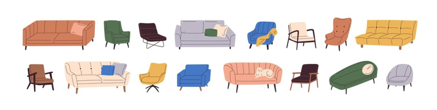 Set of trendy sofas, chairs, armchairs, ottomans, and couches with cushions in retro mid-century style. Modern soft furniture collection. Colored flat vector illustration isolated on white background