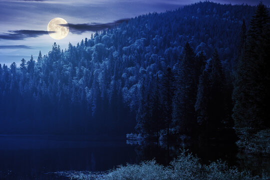 landscape with mountain lake at night. peaceful summer landscape coniferous forest around the body of water in full moon light. mysterious atmosphere with clouds on the dark sky