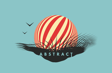 Abstract element for print or design. 3D geometric striped rounded shape. Sphere. Futuristic concept. Vector composition for invitation, cover, poster, flyer or banner.