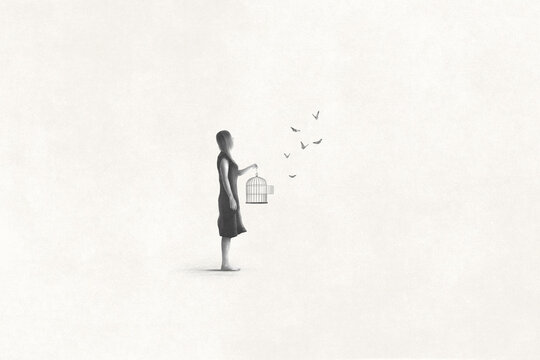 Illustration of woman setting free butterfly, freedom surreal abstract concept
