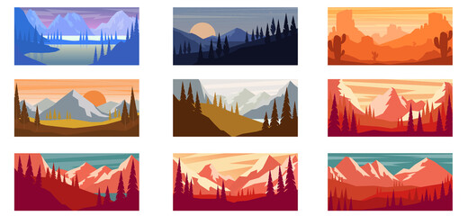 Fototapeta Set of cartoon mountain landscape in flat style. Mountain landscape with fir trees. Design element for poster, card, banner, flyer. Vector illustration obraz