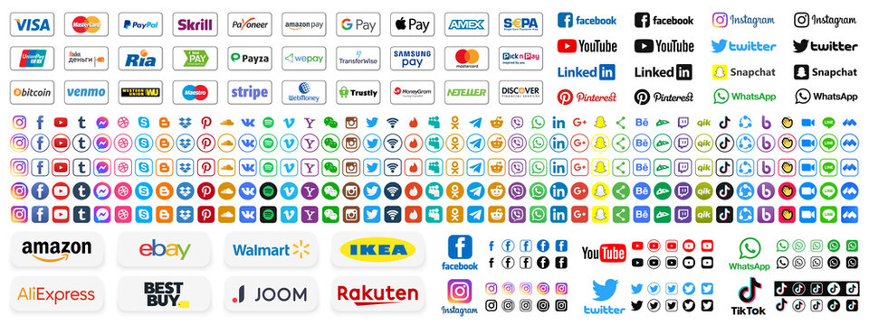 Kiev, Ukraine - May 25, 2021: Set online payment methods systems, social media icons and online shop logo. Visa, Mastercard, Paypal, Bitcoin. Facebook, Instagram, Twitter, Youtube. Editorial vector