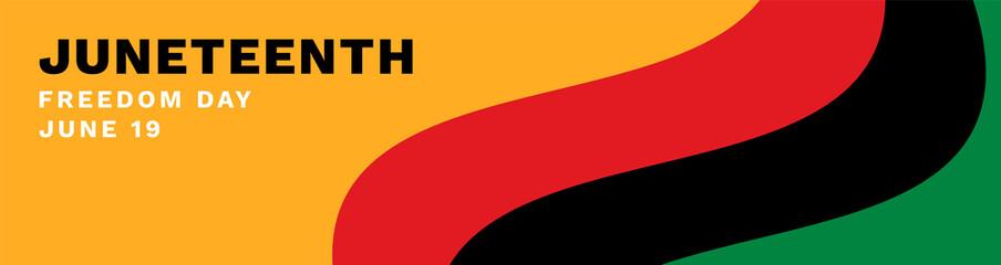 Fototapeta Juneteenth Banner Vector. Waving Pan-African Flag on Orange Background. Juneteenth Freedom Day Text. obraz