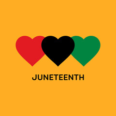 Juneteenth Square Banner With Hearts in Pan-African Flag Colours. Vector Illustration Symbolising Juneteenth Freedom Day.