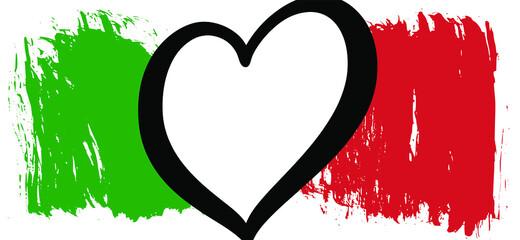 Obraz Italy flag with love heart logo. For Europe, eurovision. Music festival song, contest. Flat vector pictogram. Winnar 2021. - fototapety do salonu