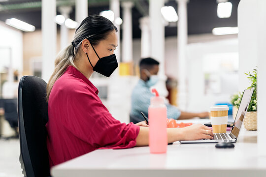 Office Worker with Face Mask
