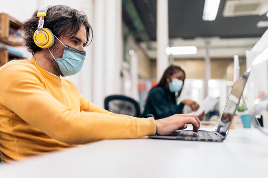 Office Workers Wearing Face Mask