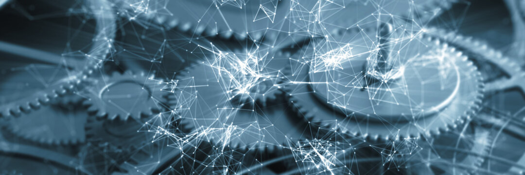 Netzwerk Konzept mit Zahnrädern und Getriebe