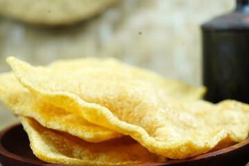 Crispy papadum (appalam or papad) Indian dish - a seasoned flatbread