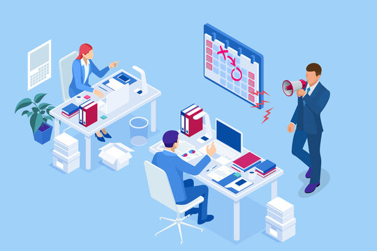 Isometric Project deadline. Time management on the road to success. Deadline Concept of overworked man Time to work Time management project plan schedule.