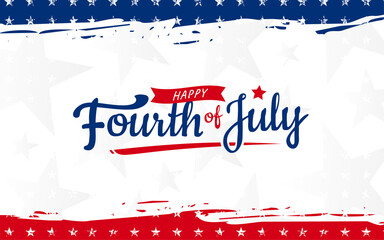 Fototapeta Trendy Fourth of July hand-lettering design with star and ribbon on modern red & blue grunge brush background with star. Use for sale banner, discount banner, Advertisement banner, postcard, etc.  obraz