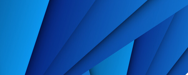 Obraz Abstract triangles shape on blue background. 3D blue abstract business background with layered triangles - fototapety do salonu