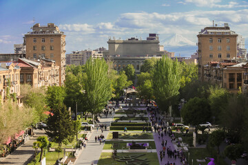 Yerevan Armenia - 05192018: Yerevan urban center with Mount Ararat in the hazy background, taken from the Cascade Complex Wall mural
