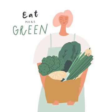 Woman with a bag of vegetables and greens. Natural organic and vegetarian food, healthy mindful eating concept. Handwritten text eat more green. Vector illustration