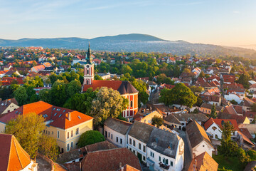 Szentendre, Hungary -  Amazing aerial view about the Belgrade serbian orthodox cathedral in the heart of the city. - fototapety na wymiar