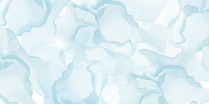 Abstract light blue marble fluid painted background. Alcohol ink or watercolor art. Editable vector texture backdrop for poster, card, invitation, flyer, cover, banner, social media post