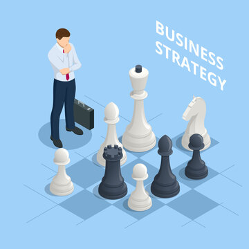 Concept business strategy. Isometric businessmen playing chess game reaching to plan strategy for success. Achieving goals business strategy for win, management or leadership.