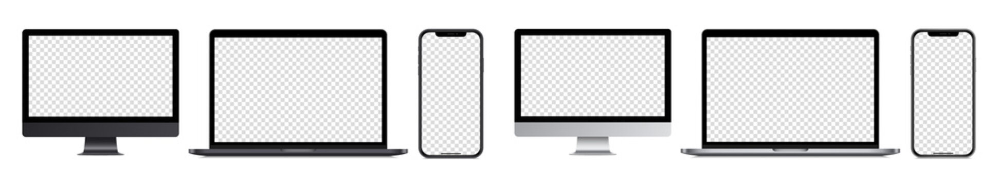 Realistic devices mockup collection: Isolated smartphone telephone, laptop computer , monoblock monitor, on white background. Empty screen mock-up, dark and silver design. Vector to PNG.