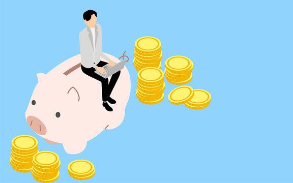 マネーリテラシーのイメージ、貯金箱に座ってパソコンで投資する男性、アイソメトリックイラスト