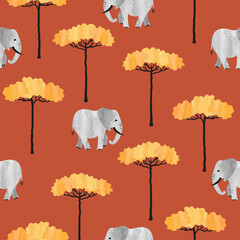 Seamless African pattern with elephants and trees. Vector watercolor illustration of savanna.
