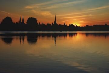 Fototapeta Zachód słońca w Lubece obraz