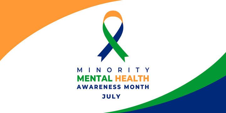 Minority Mental Health Awareness Month. Vector web banner for social media, poster, card, flyer. Text Minority Mental Health Awareness Month, July. Ribbon on white background.