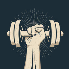 Strong bodybuilder man arm holding dumbbell doing lift exercise isolated on dark background. Sport gym workout fitness concept. Vector illustration. - fototapety na wymiar