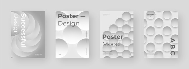 Abstract set Placards, Posters, Flyers, Banner Designs. Colorful illustration. 3d geometric shapes. Decorative neumorphism backdrop.