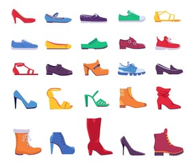 Fototapeta Shoes and boots. Summer and autumn fashion footwear for man or woman. Casual and formal leather shoe, sneakers and pumps, flat vector set obraz