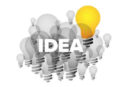 Idea Concept Illustration with Light Bulb