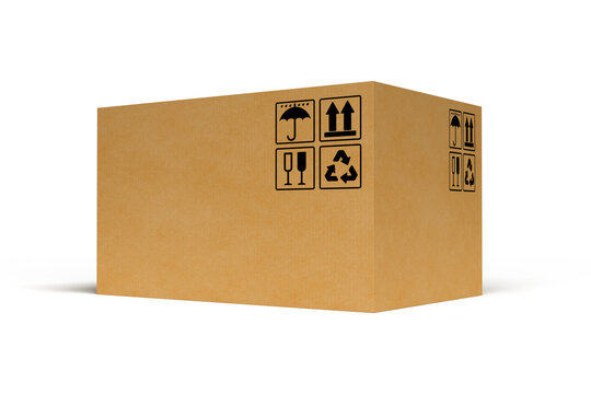 Big cardboard box on white background. 3D rendering