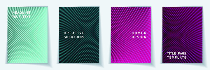 Cover page simple layout vector design set. Halftone lines grid background patterns.