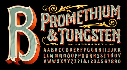 Fototapeta Promethium and Tungsten is an elegant and ornate alphabet with vintage style 3d details. Good for circus, carnival, amusement park, steampunk, logos for tattoo parlor, curio shop, carousel, etc. obraz