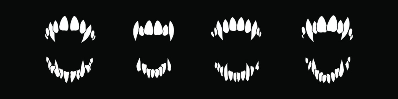 Vampire teeth vector isolated on black background. Halloween set.