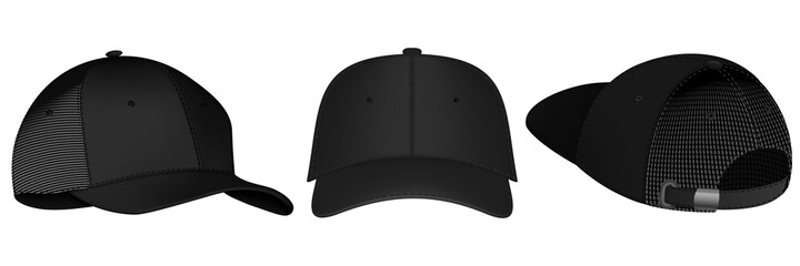 Fototapeta Design template, vector realistic white baseball cap front, back and side view isolated on background. Realistic back front and side view. Vector baseball cap front and side view. obraz
