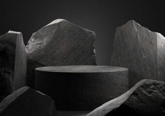 Obraz Black stone podium for display product. 3d illustration - fototapety do salonu