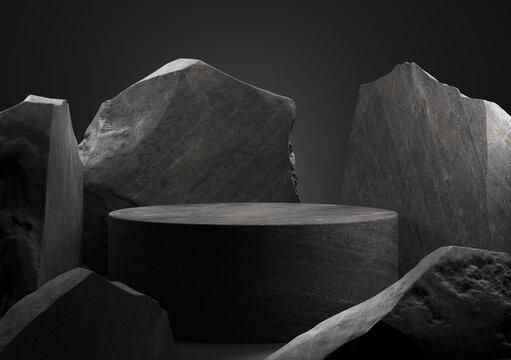 Black stone podium for display product. 3d illustration