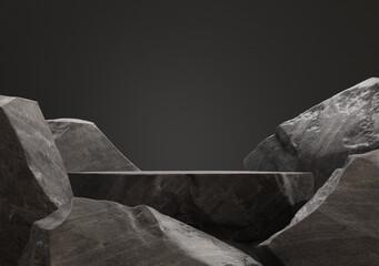 Dark stone podium for display product. 3d illustration - fototapety na wymiar