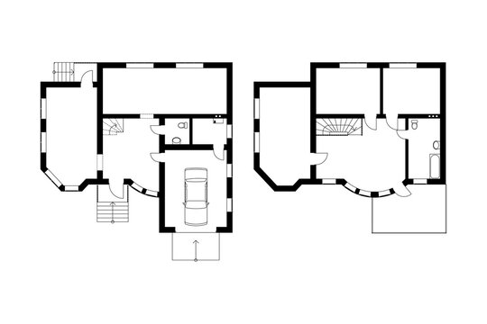 Two-storey suburban house. Black and White floor plans of a modern apartment. Vector interior design. Architectural background.