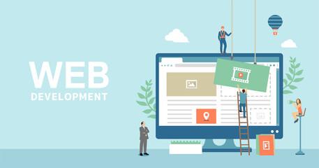 Fototapeta Web development concept  vector banner illustration obraz