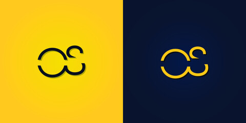 Fototapeta Minimalist Abstract Initial letter OS logo. This logo incorporates abstract letters in a creative way. It will be suitable for which company or brand name starts those initial. obraz