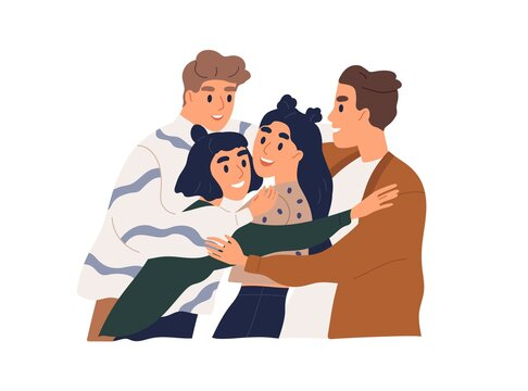 Happy male and female friends hugging. People meeting and embracing together. Concept of friendship and reunion. Colored flat vector illustration of smiling teenagers isolated on white background