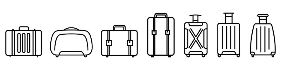 Fototapeta Baggage icon. Linear icons of baggage. Vector illustration. Travel concept. Set of baggage icons obraz