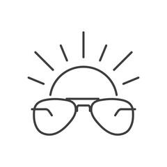 Obraz Icono gafas de sol estilo aviador con sol con lineas en color gris - fototapety do salonu