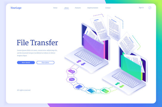 File transfer isometric landing page, digital data migration between computers. Transmission service for private information exchange, gadgets connected in computing network system, 3d vector banner