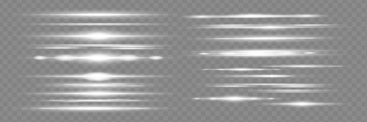 Fototapeta White horizontal lens flares pack. Laser beams, horizontal light rays. Beautiful light flares. obraz